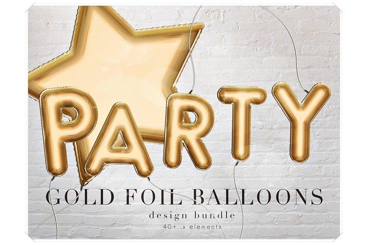 Gold Foil Balloons Letters Clipart - Design Bundle