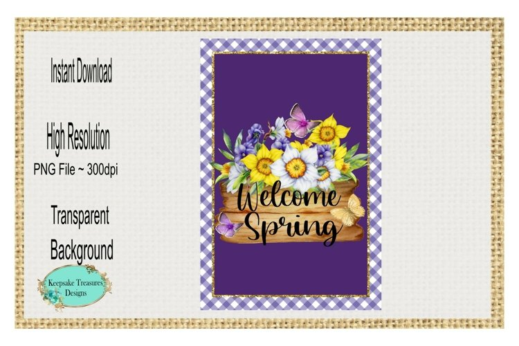 Welcome Spring, Yard Flag Template