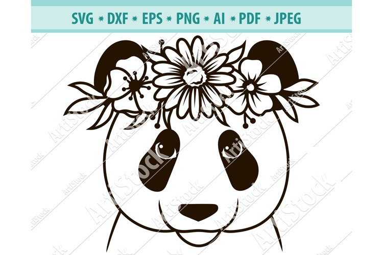 Panda SVG file, Panda with Flower Crown SVG, Png, Dxf, Eps example image 1