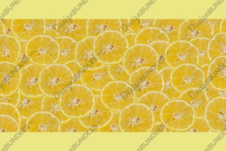 banner background with slices of lemon citrus