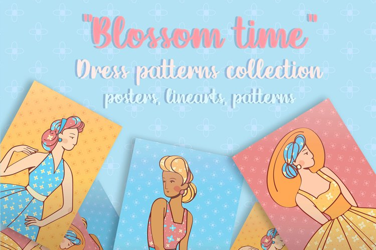 """Digital set posters and patterns """"Blossom time"""" retro style example image 1"""