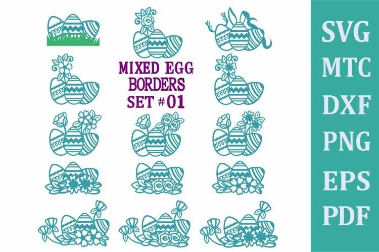 Easter Egg Mixed Border Set #01 SVG Cut File PNG DXF PDF