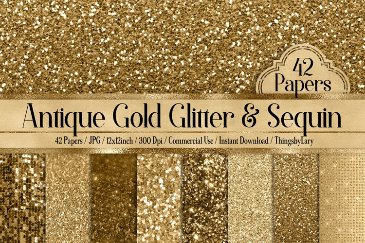 42 Antique Gold Glitter and Sequin Papers example image 1