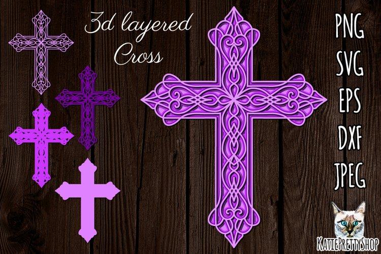 3d layered Cross svg, multilayered SVG, laser cut file