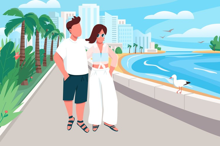 Couple in love walking along seafront vector illustration example image 1