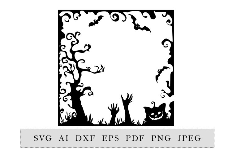Silhouette Halloween scene Party decoration example image 1