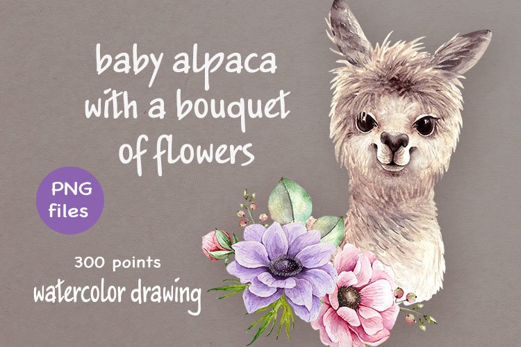baby alpaca with a bouquet of flowers example image 1