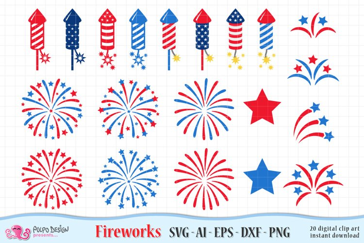 4th of July Fireworks SVG, Eps, Dxf, Ai and Png.