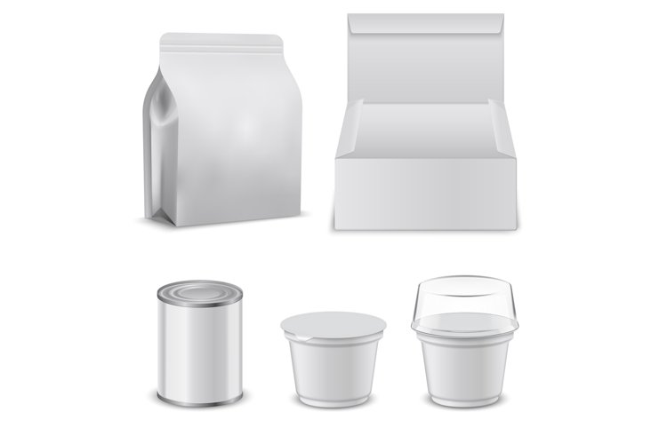Blank template of food boxes and plastic containers. Design example image 1