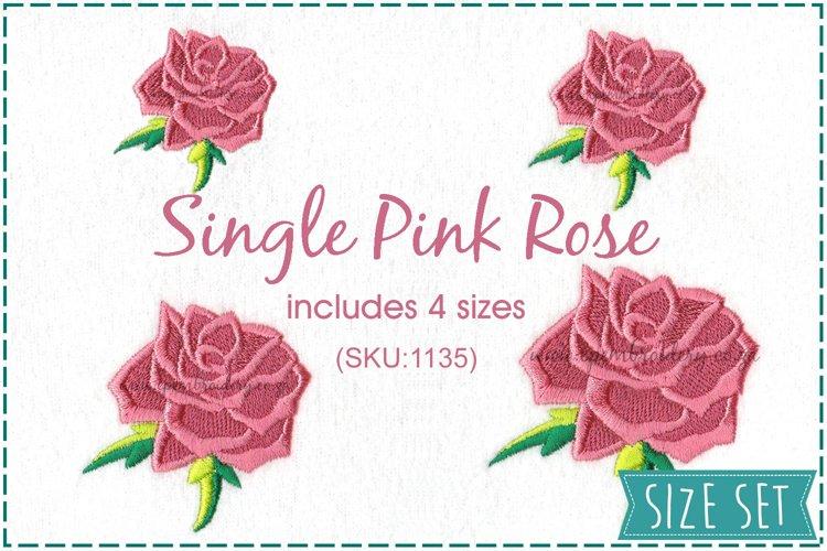 Single Rose Machine Embroidery Design Set of 4 Sizes example image 1