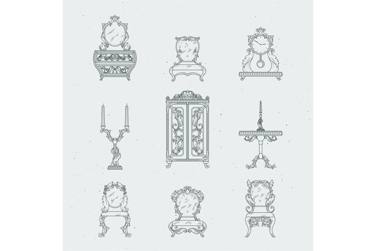 Home antique furniture chairs, dresser, bedside table, mirro example image 1