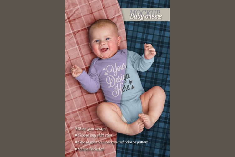Mockup baby onesie example image 1
