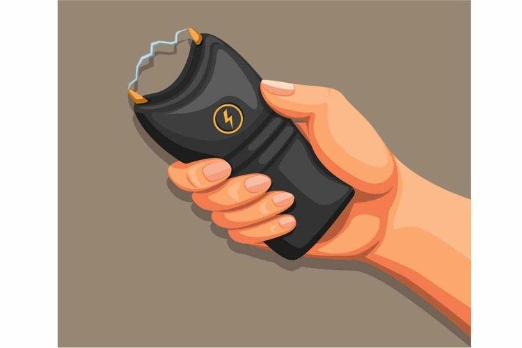 Hand holding taser or stun gun self defense equipment vector example image 1