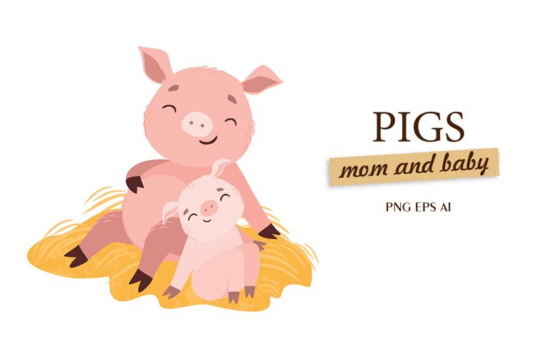 Pig sublimation. Mothers day. Mommy and me. Baby animals.