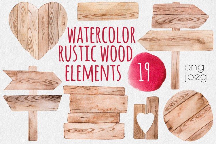 Rustic wood watercolor elements set example image 1