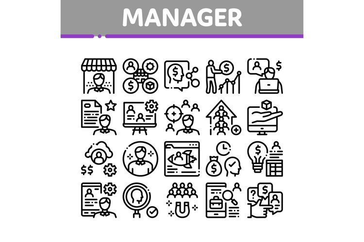 Account Manager Work Collection Icons Set Vector example image 1
