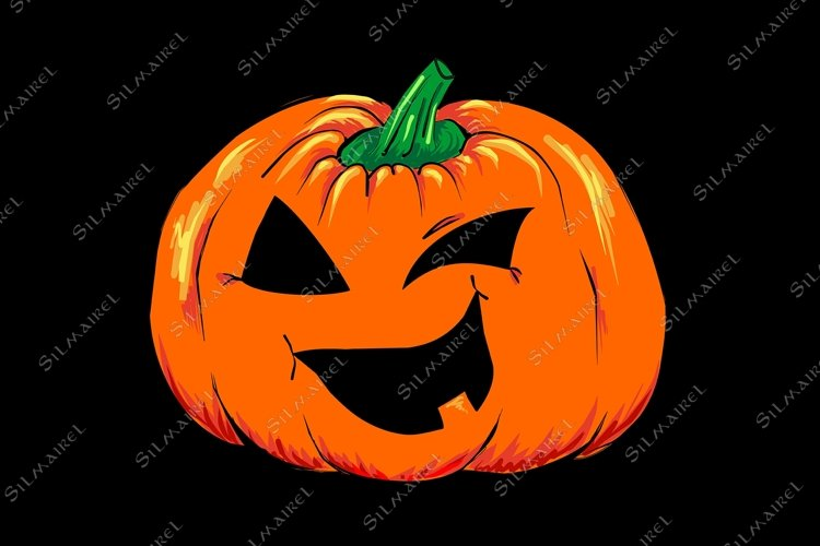 Halloween creepy Jack-o-lantern pumpkin vegetable isolated example image 1