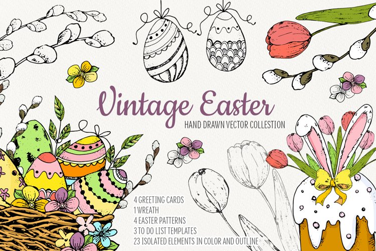 Hand drawn Vintage Easter.Vector set example image 1
