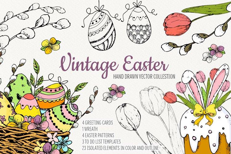 Hand drawn Vintage Easter.Vector set