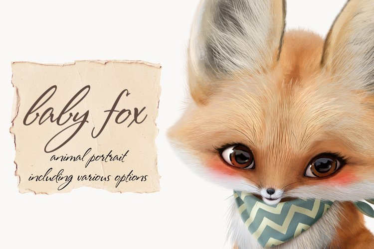 Baby fox clip art set, PNG, PSD example image 1