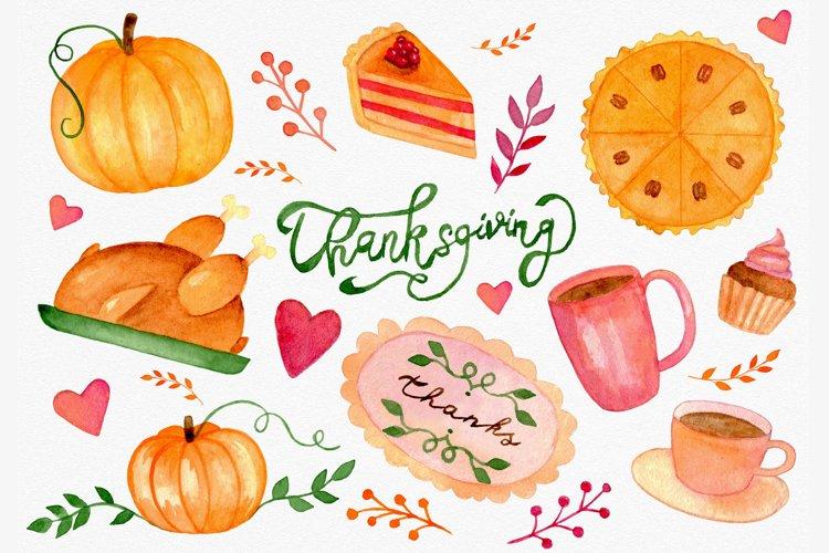 Thanksgiving watercolor clipart bundle