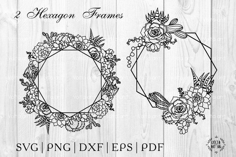 Hexagon Succulent frame Svg. Cactus polygonal floral wreaths example image 1