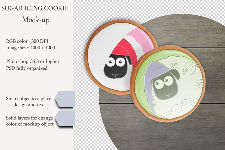 Sugar icing cookie mockup. PSD object mockup. example image 1
