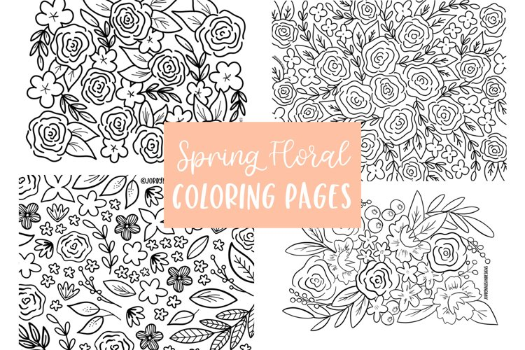 4 Spring Floral Coloring Pages
