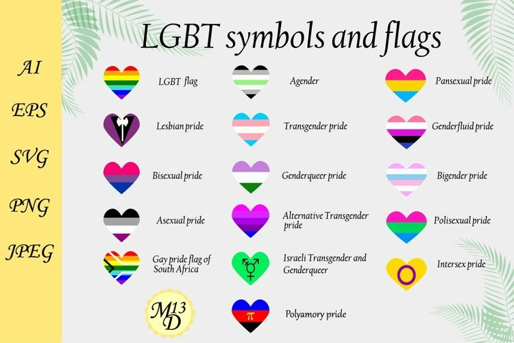 16 Rainbow LGBT flags and symbols. 16 PRIDE heart vertical
