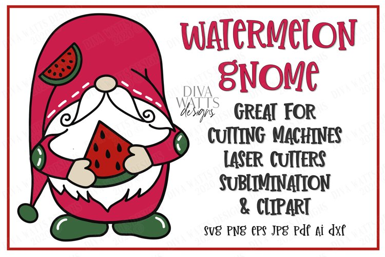 Watermelon Gnome - Summer - Cutting File - SVG DXF EPS example image 1
