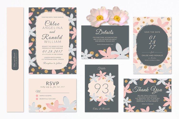 Modern Floral Wedding Invitation Set example image 1