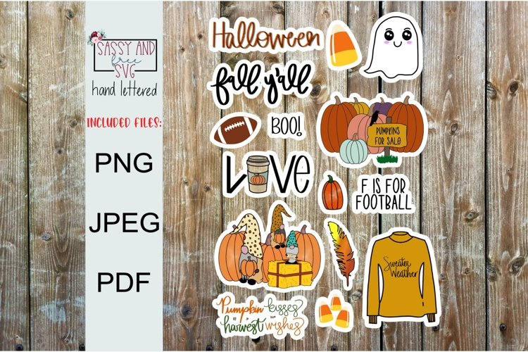 Fall Printable Sticker Sheet l Digital Stickers l Planner example image 1