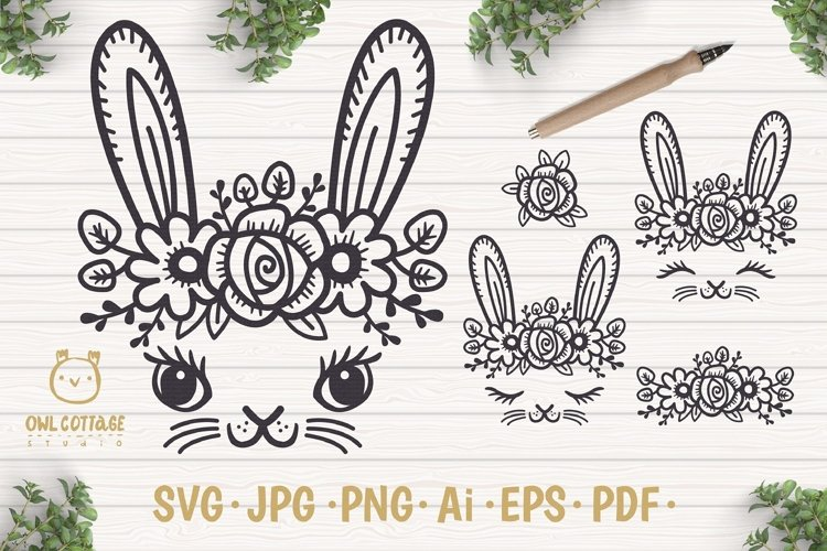 Easter Bunny Face svg , Easter Svg, Easter Decor example image 1