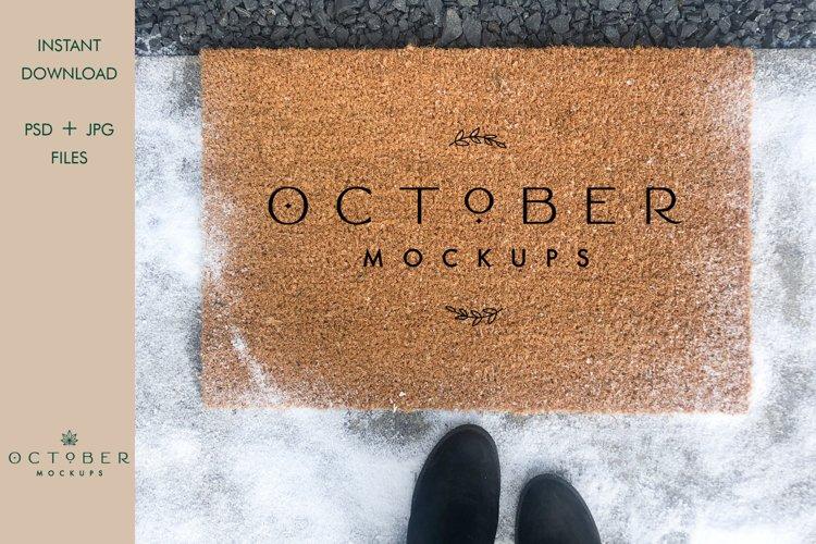 Winter Doormat Mockup | JPG and PSD smart object example