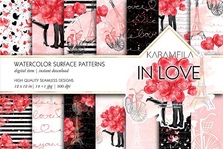 Love Couple in Paris Digital Paper, Valentine Day Patterns