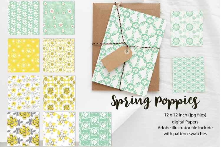 Spring Floral Poppies | Digital paper paper designs|Patterns example image 1