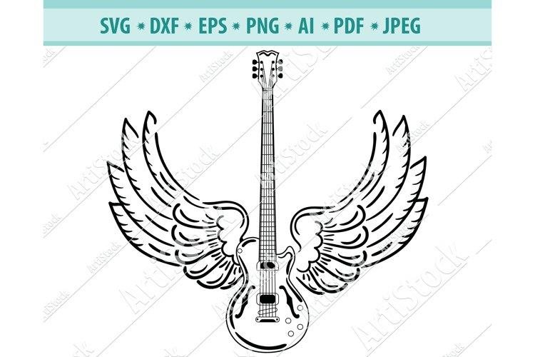 Electric guitar Svg, Wings Svg, Guitar Svg, Dxf, Png, Eps