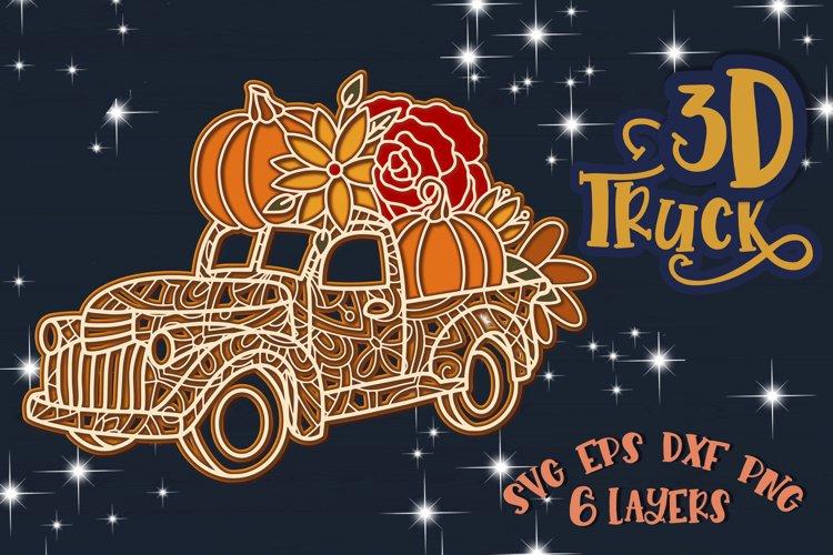 3D Truck svg Papercut svg Mandala 3d Fall Harvest