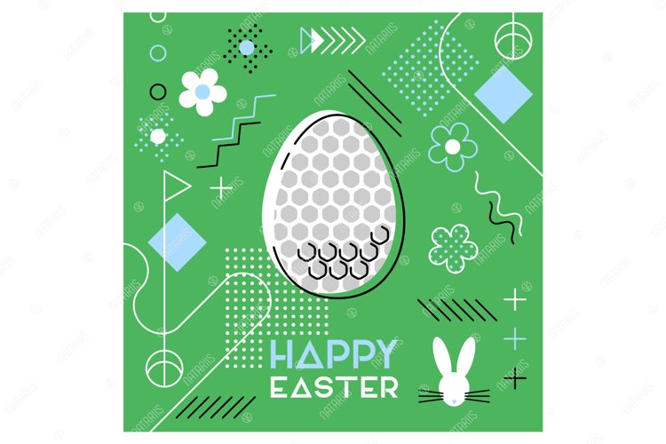 Easter sports greeting card. Memphis design. Golf. example image 1
