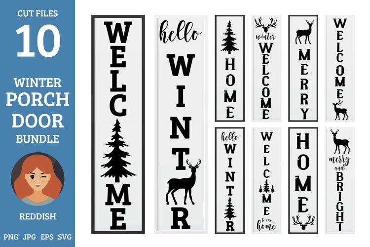 10 Porch door winter signs bundle, welcome signs, reindeers example image 1