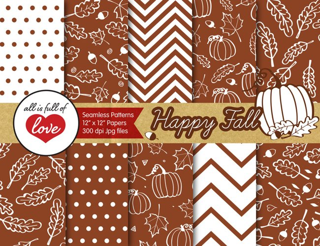 Fall Digital Paper Brown Autumn Background Patterns with acorns, leafs and pumpkins example image 1