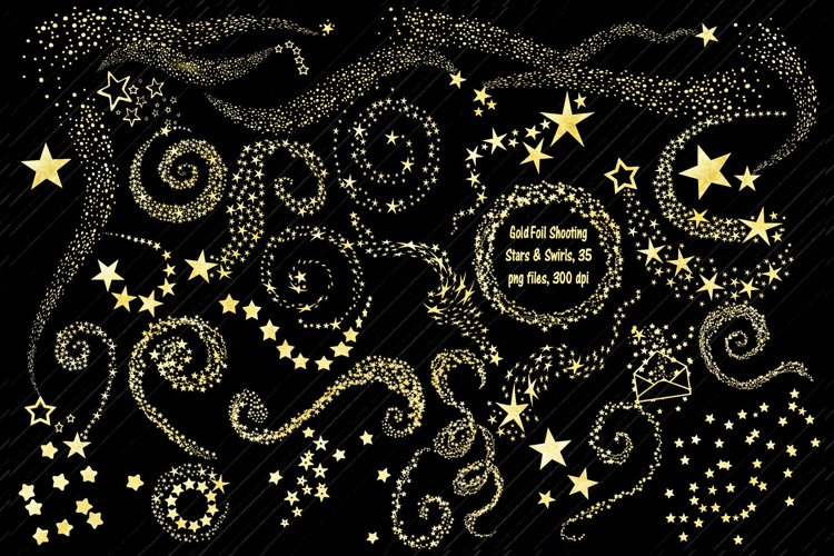 Gold Foil Shooting Stars and Swirls Clip Art example image 1