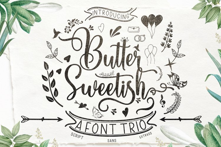 Butter Sweetish Font TRIO and Extras example image 1