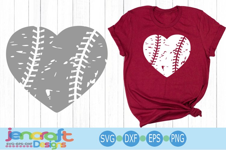 Distressed Baseball Heart, Grunge Baseball SVG Cut file