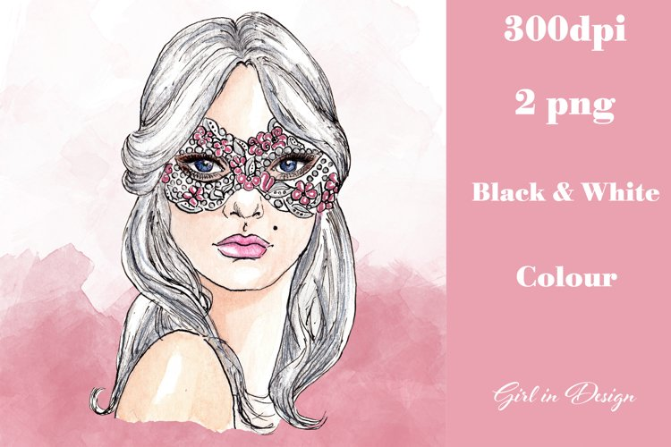 Masked Girl New Year Clipart example image 1