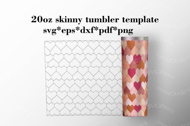 Hearts 20 oz skinny tumbler template, Tangram pattern svg