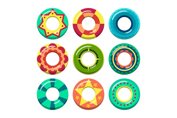 Lifeguard swimming rings in different colors. Vector illustr example image 1