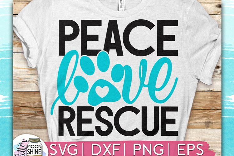 Peace Love Rescue SVG DXF PNG EPS Cutting Files example image 1