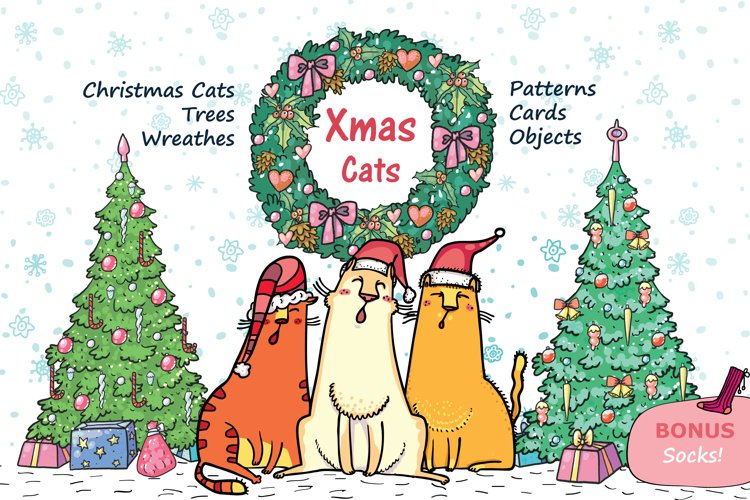 Xmas Cats clip-art, patterns, cards example image 1