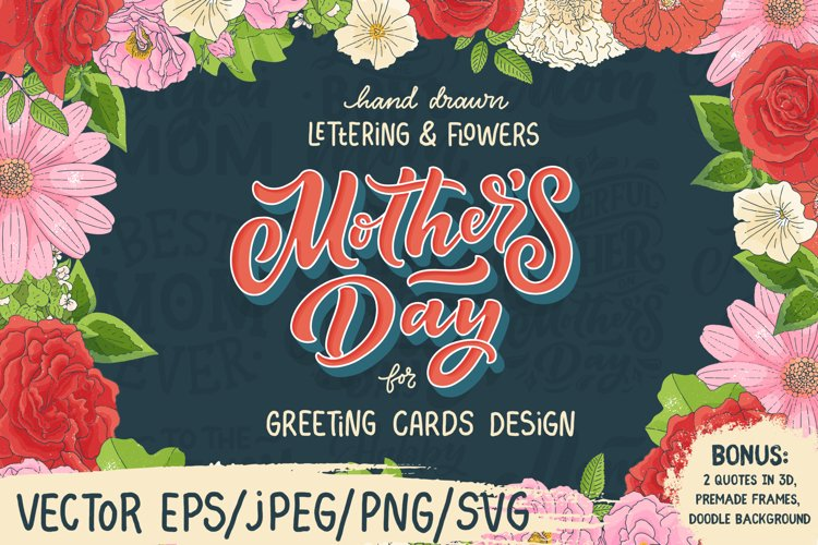 Mother's Day Lettering & Flowers example image 1